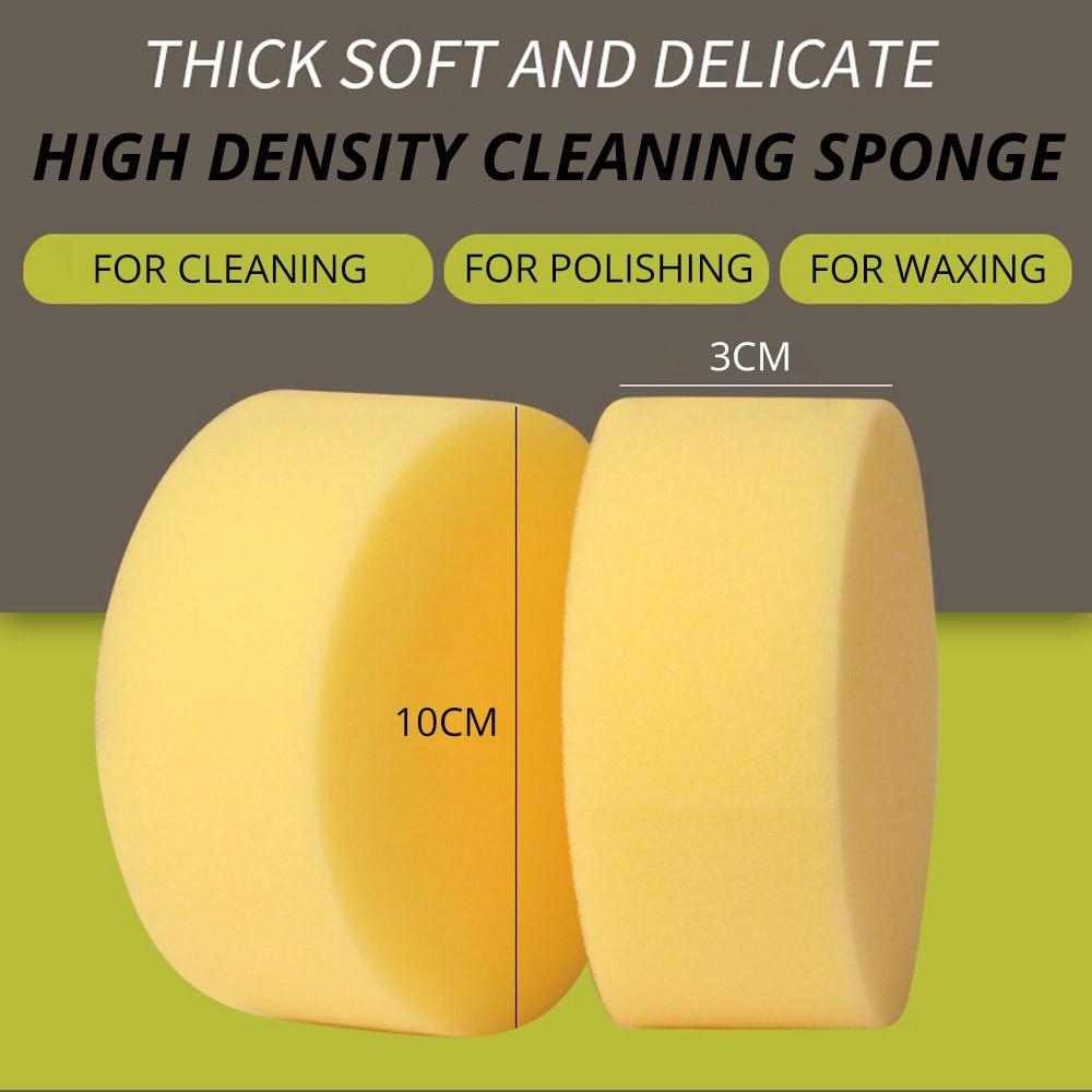 2Pcs 10CM Round Car Polishing Waxing High-density Sponge Washing Car Washing Pressure Does Not Edge Foam Auto Care Sponge Wax