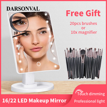 Espejo de maquillaje LED iluminado con espejo cosmético con luz para maquillaje luz ajustable 16/22 pantalla táctil cepillo de pestañas