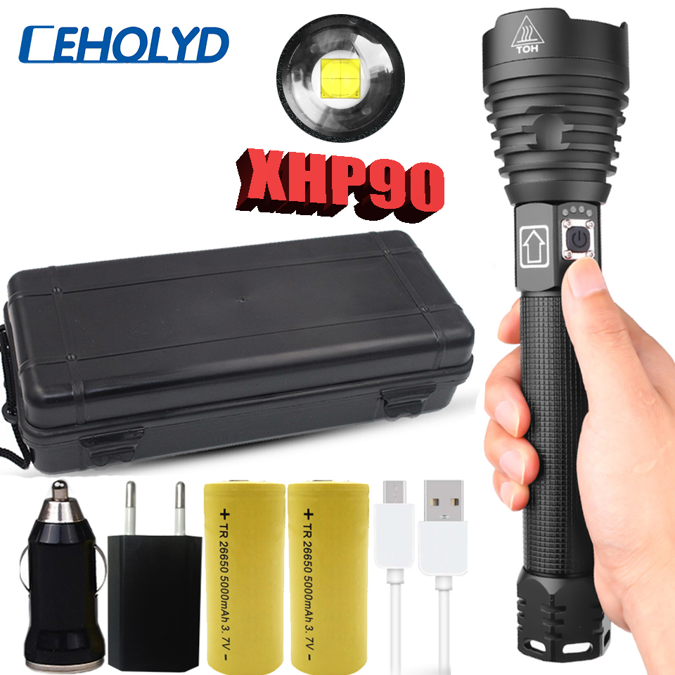 Led Flashlight XHP90 Most Powerful Flashlight Usb Rechargeable Torch Xhp50 Xhp70 Hand Lamp 26650 18650 Battery Flash Light