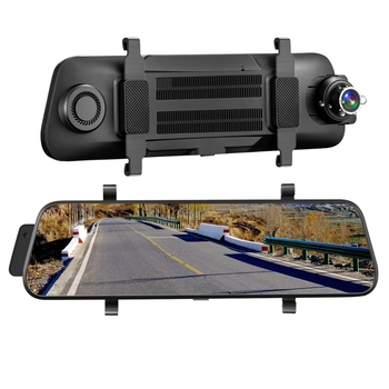 9.66 Inch Mirror Dash Cam Press Full Screen ; 1080P 170° Full Hd Front Camera;1080P 140°Wide Angle Full Hd Rear View Camera;Time