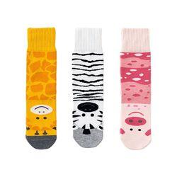 3 пары женских забавных Хлопковых Носков с милым рисунком жирафа, зебры, свиньи, животных, чулочно-носочные изделия