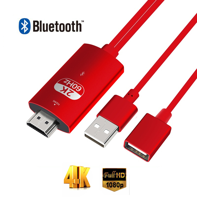 Larryjoe Adaptador de Cable HDMI con Bluetooth para Iphone 11 PRO MAX XS XR 6 7 8 Plus Samsung S8 LG IOS Android Phone To TV HDTV, 2K