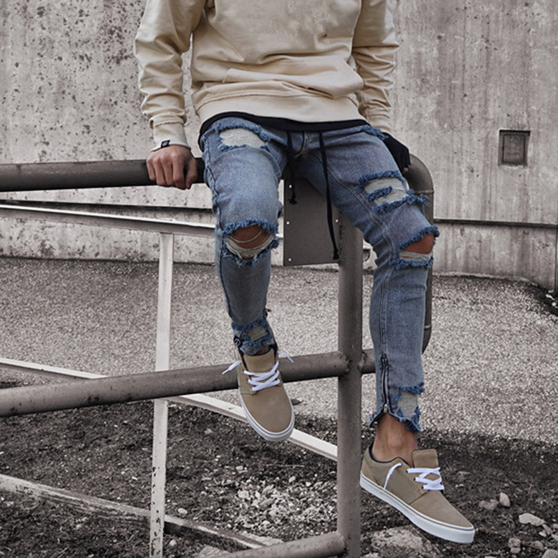 Men's Fashion Ripped Skinny Distressed Holes Jeans Male Slim Fit Stretch Biker Pants Spring Autumn Denim Trousers 2019 New