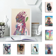 Fashion Girl Nordic Poster Cat Canvas Painting With Frame Parrot Modern Home Decor Posters Cartoon Bear  Kid Bedroom Living Room