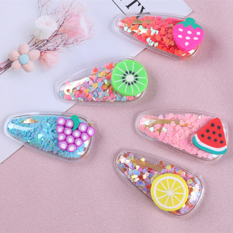 Color Quicksand Transparent Girls Cute Fruit Hairpin PVC Baby Side Clip Jewelry