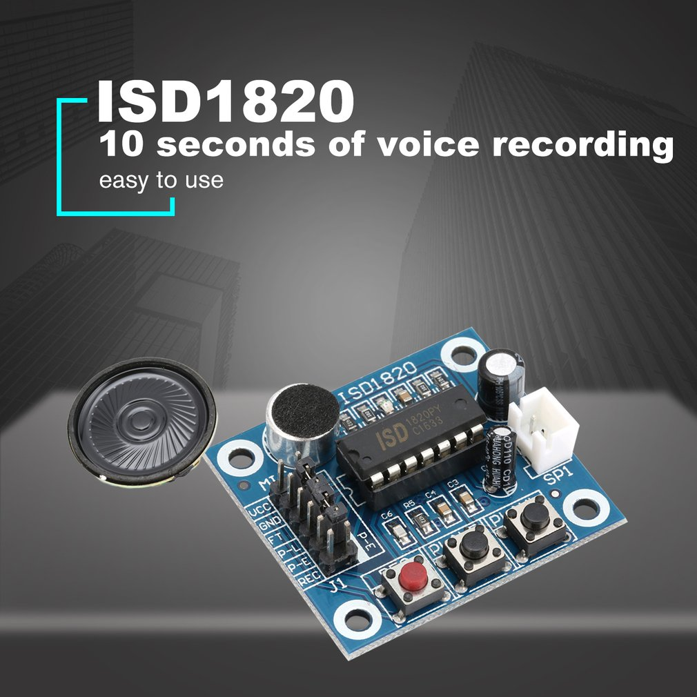10 Piezas Isd1820 Sonido Voz de Grabación reproducción Con Micrófono Sonido Audio Micrófono
