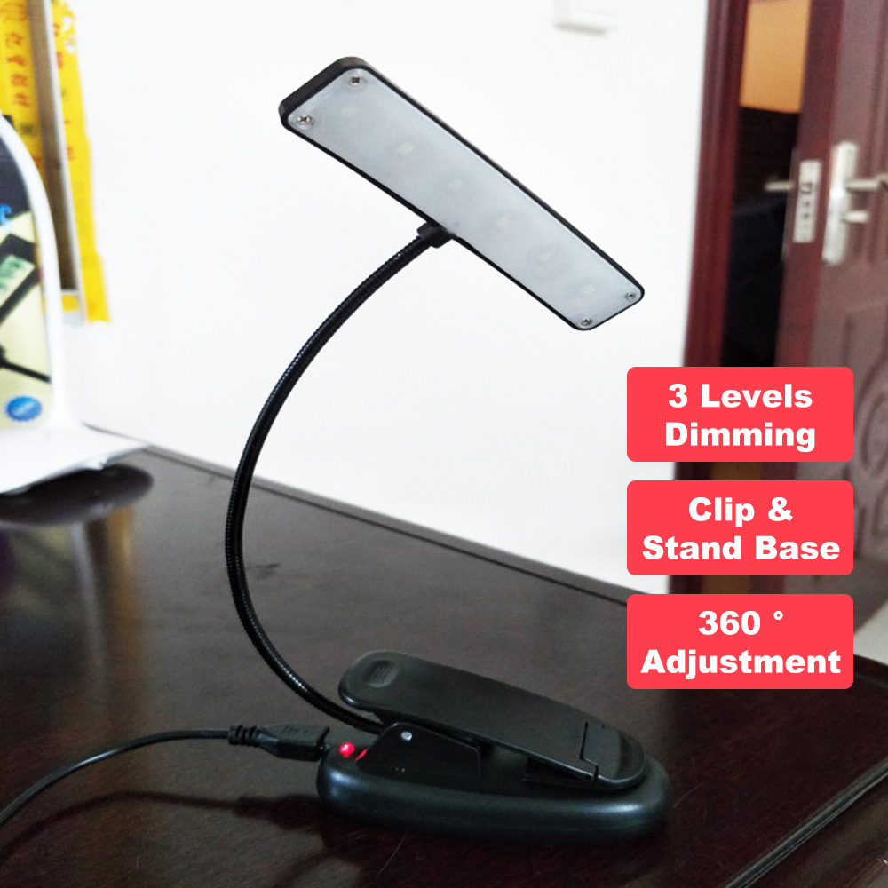 Book Light Tablet Flexible Stand Eye-Friendly Clip-on Reading Lamp Portable Sheet Music Score Adjustable Rechargeable Desk