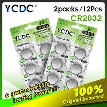 YCDC 12 CR2032 Nút Pin BR2032 DL2032 ECR2032 3V CR 2032 Cho Đồng Hồ Điện Tử Đồ Chơi Điều Khiển Từ Xa Đồng Xu pin Lithium