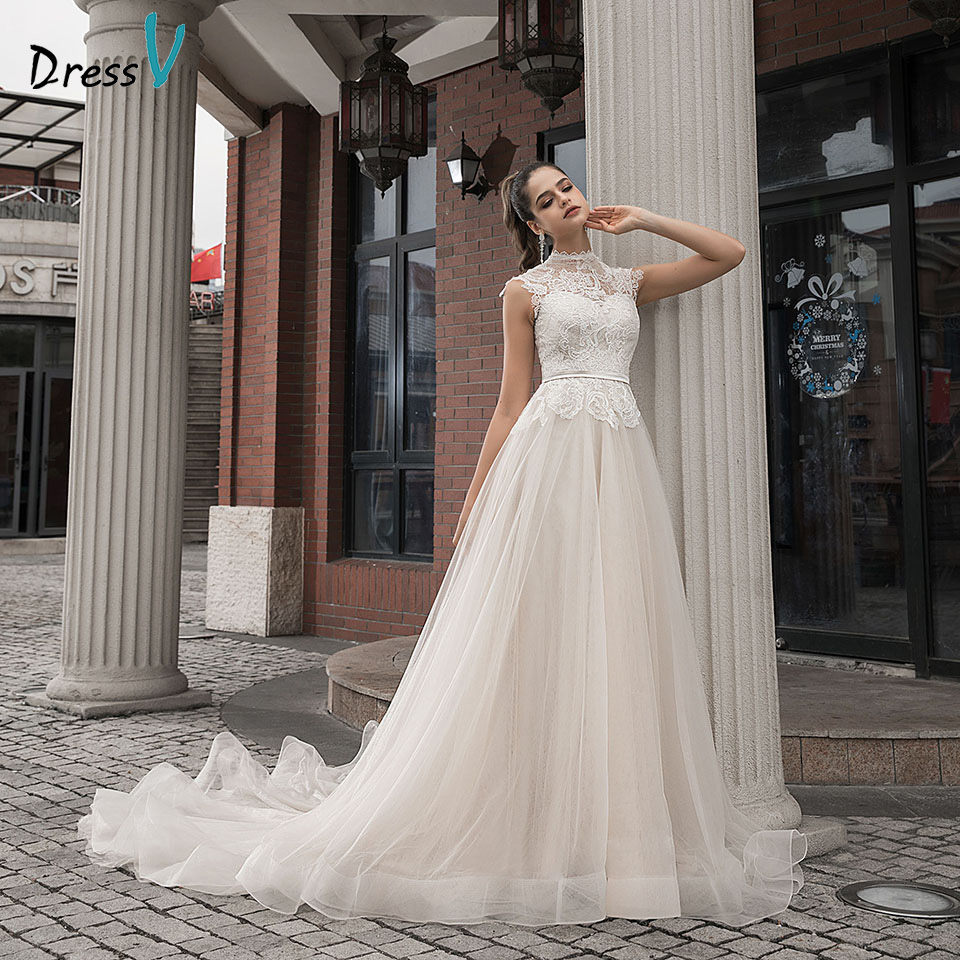Dressv High Neck Champagne Wedding Dress A Line Button Lace With Chapel Train Cap Sleeves Outdoor&Church Wedding Dresses