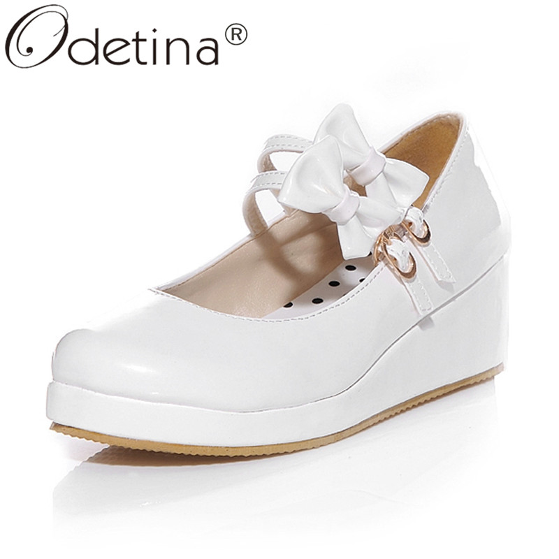 Odetina Women Round Toe Bow Platform Wedge Mary Jane Pumps Low Heel Double Buckle Cute Comfort Princess Lolita Shoes Ankle Strap