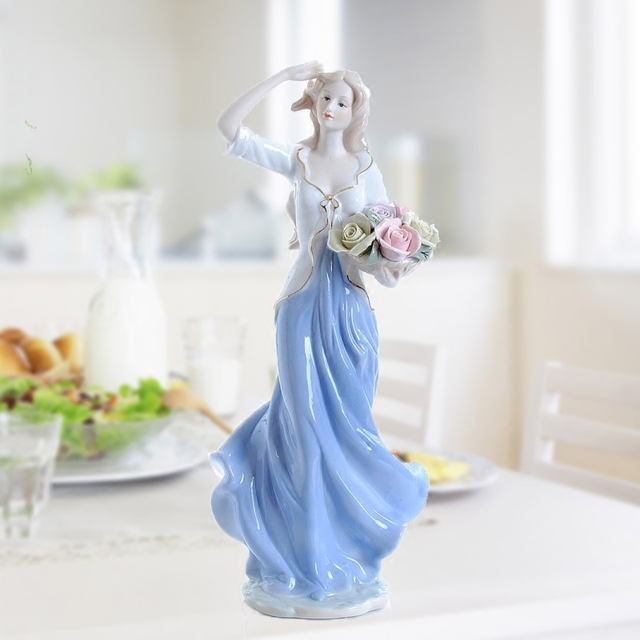 Europe Ceramic Beauty Figurines Home Furnishing Crafts Decoration Western Porcelain handicraft Ornament Wedding Gift A 2