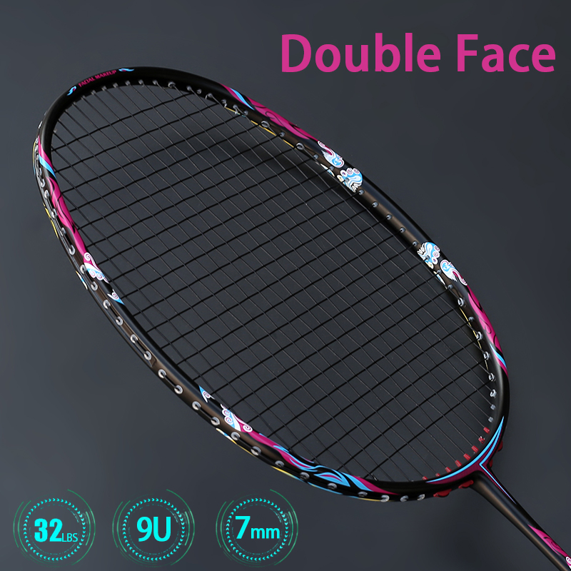 Professional Super Light 9U 57Gram Carbon Fiber Badminton Racket Strung 32LBS G5 Rackets With String Bags Racquet Speed Sports