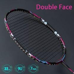 Raqueta de Bádminton de fibra de carbono profesional súper ligera 9U 57 gramos, raquetas de 32 lbs G5 con bolsas de cuerda, raqueta de velocidad, deportes