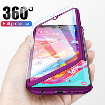 Fashion Purple 360 Full Cover Phone Case For iPhone X 8 6 6s 7 Plus 5 5s SE PC Protective Cover For iPhone XS MAX XR With Glass image