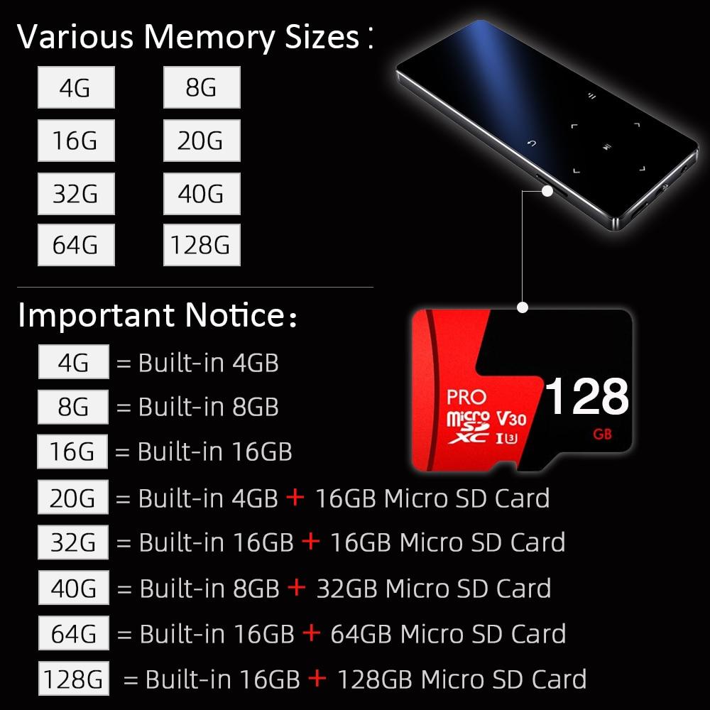 Iceice MP4 Speler Met Bluetooth 8 Gb 16 Gb 32 Gb Muziekspeler Met Touch Key Fm Radio Video Spelen E-Book Hifi Speler MP4 Walkman 2