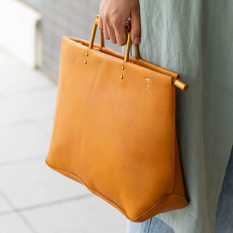 Nuevo bolso retro de cuero para mujer, bolso de hombro para mujer, bolso bandolera de cuero genuino para mujer - 3