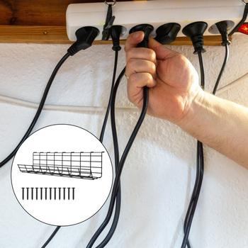 1pc pod biurkiem stojak na druty pod biurkiem Organizer do kabli koryto kablowe tanie i dobre opinie CN (pochodzenie) Under Desk Wire Storage Rack Under Desk Cable Organizer Wire Cable Tray Cable Management Supply Cable Storage Rack