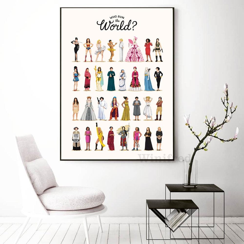 Современный феминизм Wall Art Холст Картины которые работают в мире Плакаты и печать, Картина Настенная для девочек комната декора подарки для ...