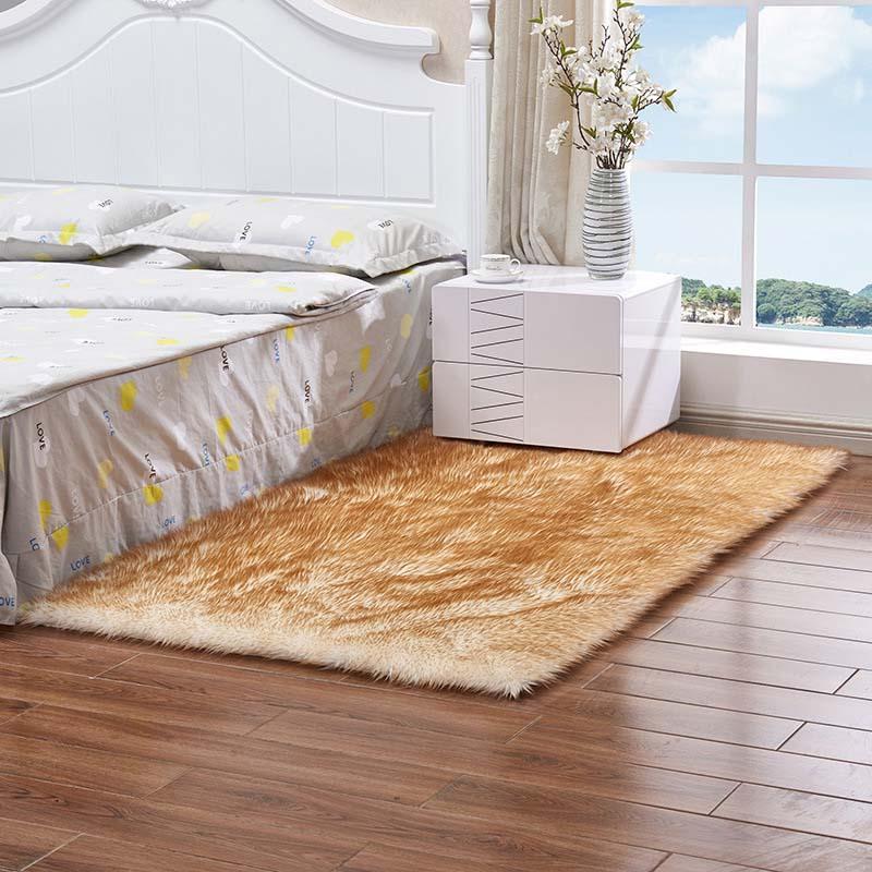 Очень мягкие прямоугольные коврики из искусственного меха овчины для спальни, напольный ворсистый шелковистый плюшевый ковер, белый ковер из искусственного меха, прикроватные коврики - Цвет: white yellow plush