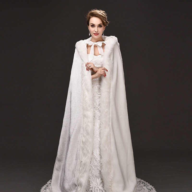 Di alta Qualità Da Cerimonia Nuziale di Inverno Lungo Mantello di Pelliccia Con Cappuccio Capes Con Faux Fur Con Cappuccio Da Sposa Da Sposa Mantello Bianco Sposa Poncho avvolge