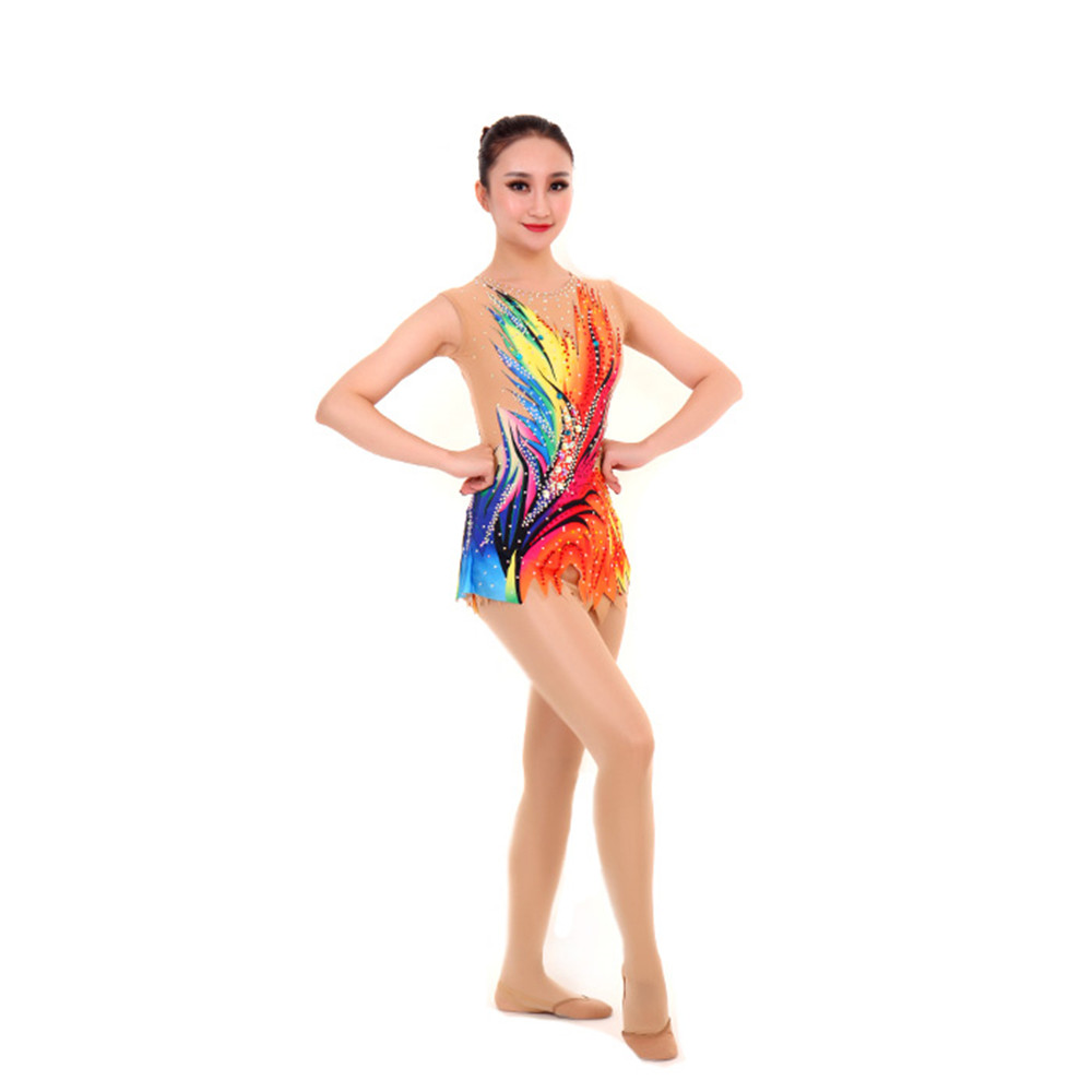 Women Rhythmic Gymnastics Leotards For Girls Performance Suit Artistic Gymnastics Dress Sleeveless Multicolor Delicate Pattern