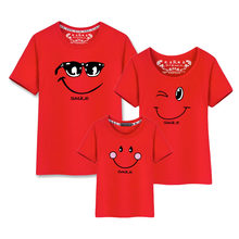 Smile Tshirt New Born Baby Boy Clothes Summer Korean Fashion Clothing Sets Matching Couple Outfits Family T Shirt Son Mom Dad(China)