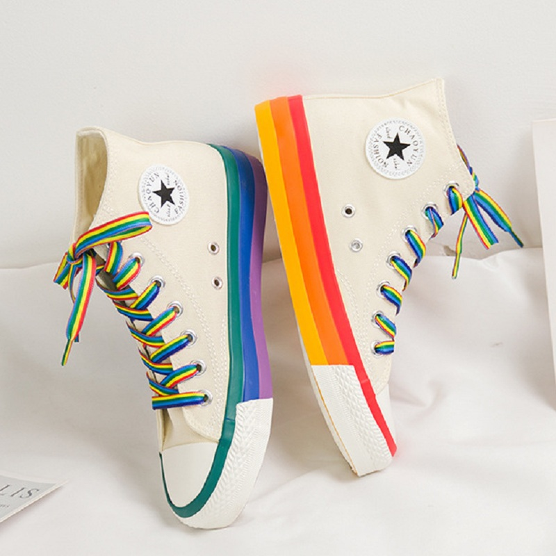 Fashion Women Sneakers Rainbow Bottom