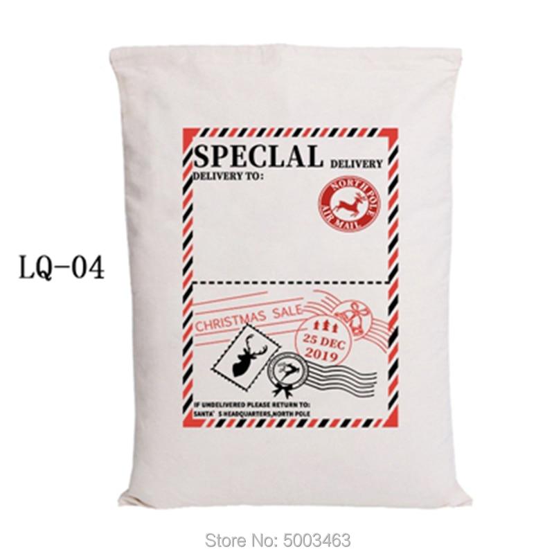 Wholesale Santa Sacks 20pcs/lot Christmas Bag Drawstring Party Canvas Bag Hot Sale Santa Claus Kids Bags Christmas Gift