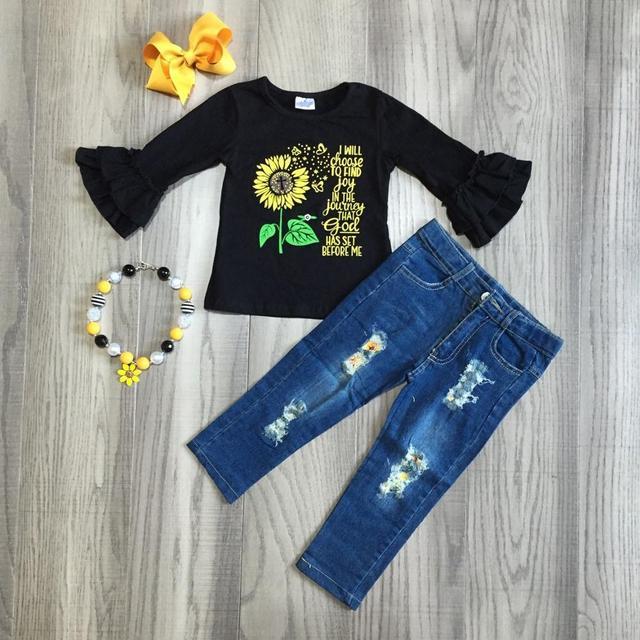 Herfst/winter baby meisjes zonnebloem te vreugde vinden in de reis Jeans kinderen kleding boutique broek outfits set match accessoires