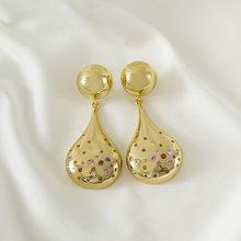 Bakır uzun zincir dangle küpe moda takı Vintage damla altın küpe kadınlar hediye için