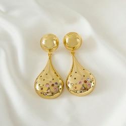 copper Long chain dangle Earrings Fashion Jewelry Vintage Drop Gold Earrings For Women gift