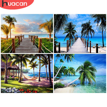 HUACAN Diamond Painting Full Drill Square/Round Landscape Sale Art Embroidery Seaside Sunset Home Decoration - discount item  33% OFF Arts,Crafts & Sewing