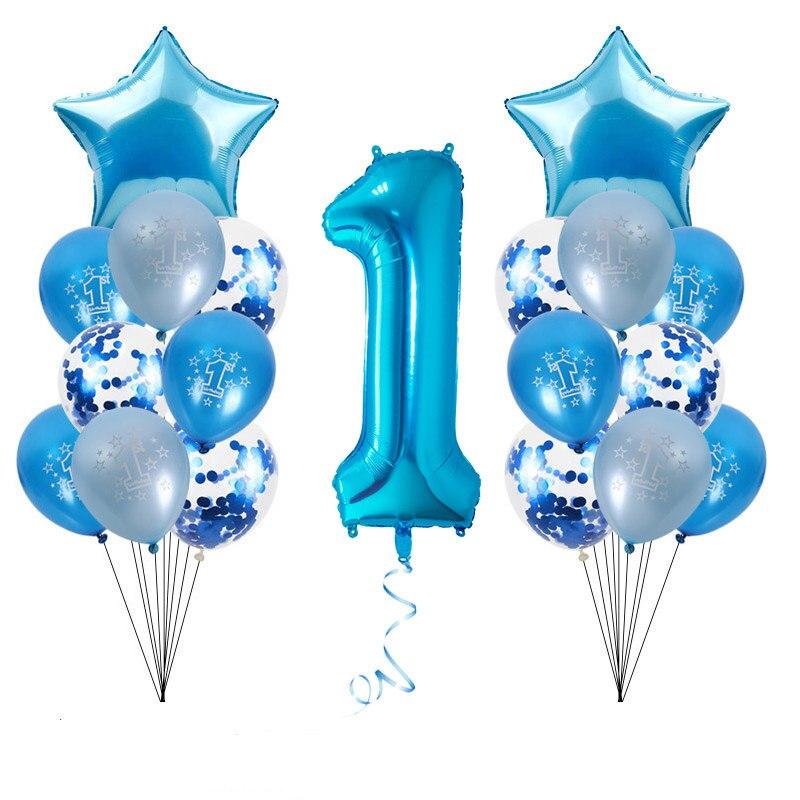 Синие фольгированные воздушные шары WEIGAO, набор для украшения первого дня рождения, шары с цифрами на один год, детский праздник, товары для у...
