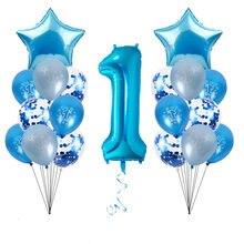 WEIGAO Blu Aerostati della Stagnola Set di Un Primo Compleanno Decorazione di Un Anno di Età Numero Palloncini Baby Shower Ragazzo 1st Compleanno Decor forniture