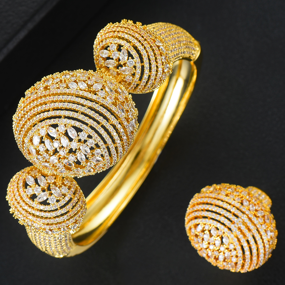 missvikki Luxury finely Disco BALL Stackable Gold Bangle Ring Sets for Women Wedding Bangle Ring Sets aretes de mujer modernos