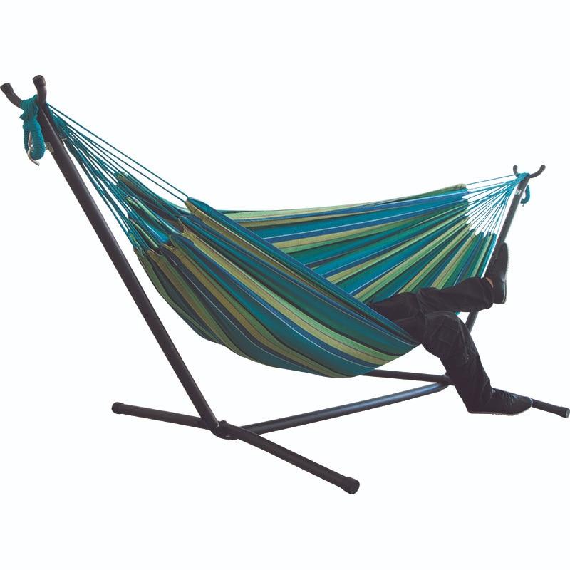 Portable Assembly Holder Canvas Hammock Single Person Double Indoor Students Hammock Outdoor Travel Beach Balcony Hammock
