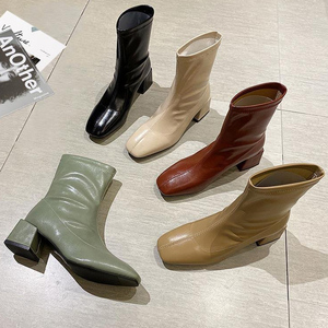 2021 Women Martins Boots Genuine Leather Fetish Stripper Short Ankle Boots Winter Prom Chunky Low 5cm High Heels Green Shoes