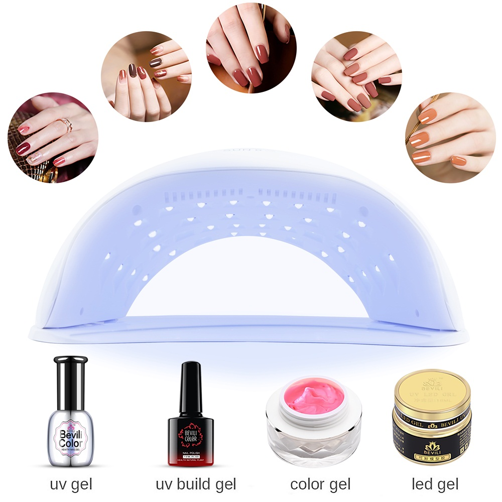 52W Portable UV LED Nail Lamp Painless Nail Dryer with 4 Timer Setting LCD Display Quick Drying
