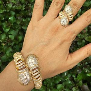Image 1 - ModemAngel יוקרה פרח אופנה מעוקב Zirconia דובאי חתונה נחושת תכשיטי צמיד צמיד טבעת סט שמלת תכשיטי לאישה La
