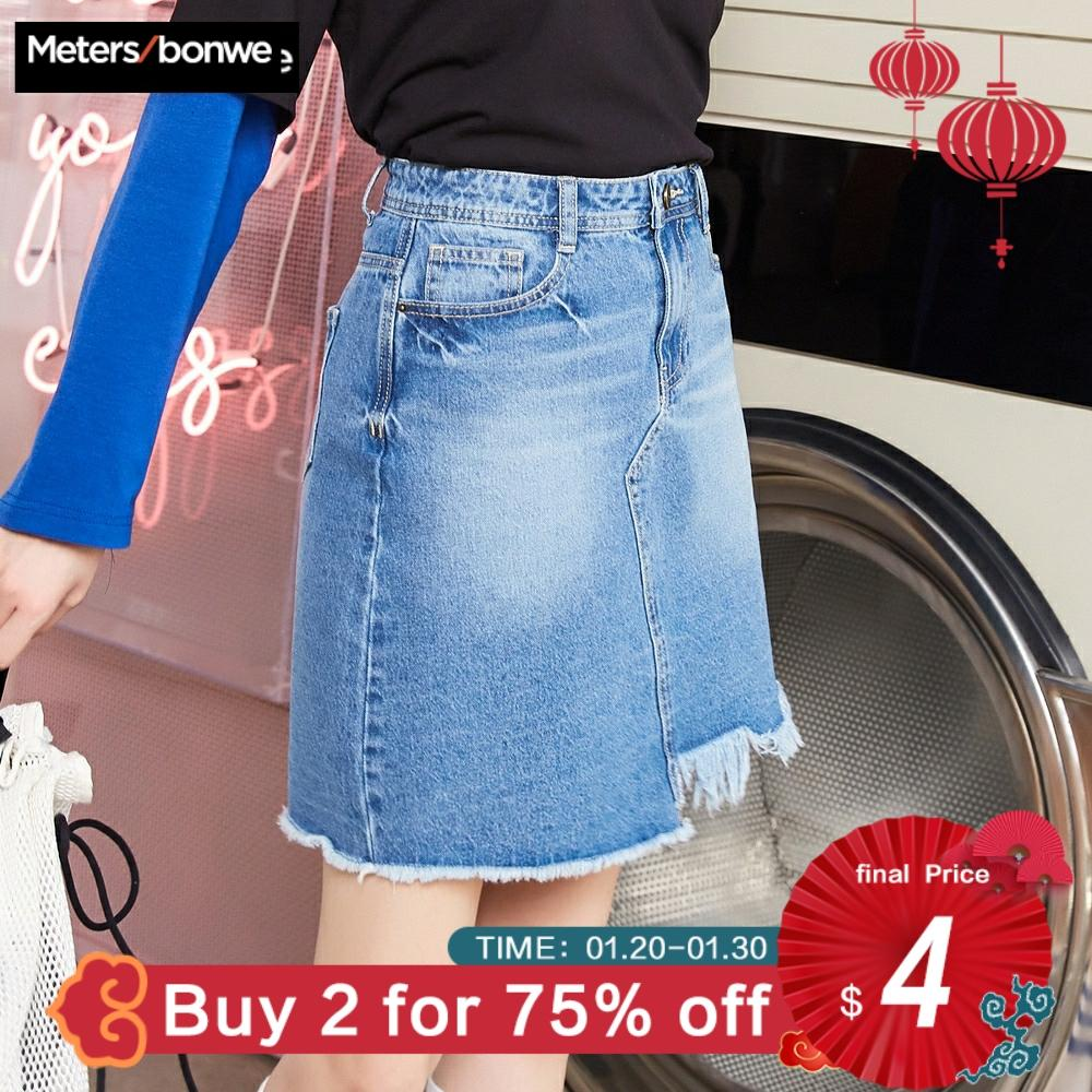 MetersBonwe Denim Skirt High Waist A-line Mini Skirts Women Frayed Irregular Skirt 2019 Summer New Arrivals