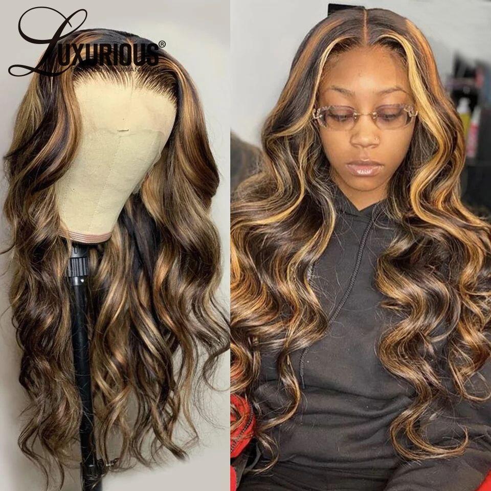 Mel loira 360 peruca frontal do laço pré arrancado com cabelo do bebê cabelo completo ombre 13x6 perucas de cabelo humano da parte dianteira do laço para preto