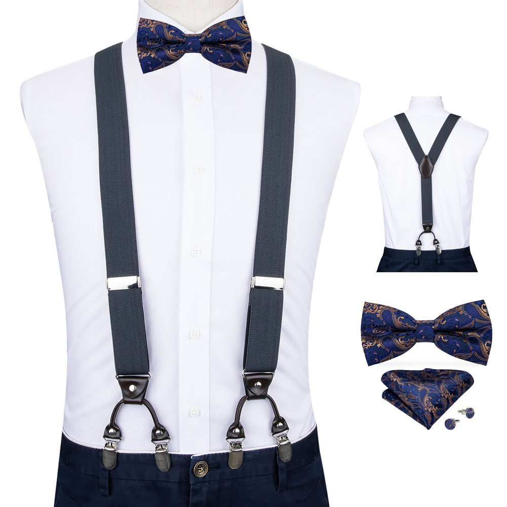 Mens Blue Suspenders Bow Ties Set Business Wedding Y-back Adjustable Clip-on Elastic Suspender Vintage Mens Belts Straps DiBanGu