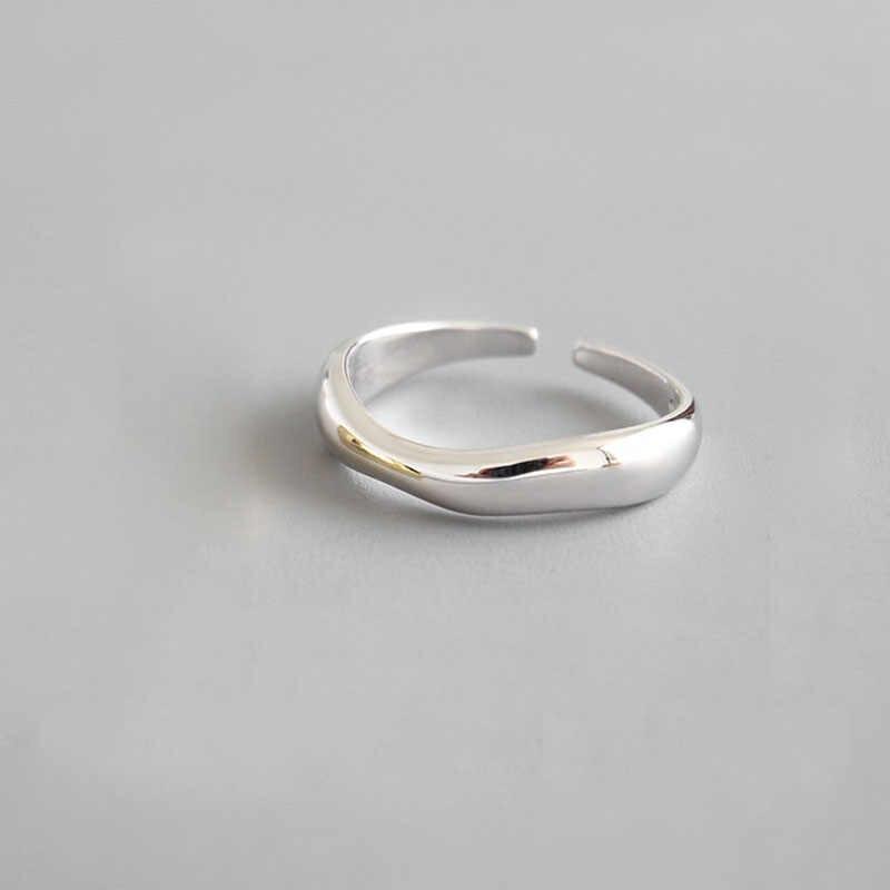 XIYANIKE 925 ayar gümüş düzensiz dalga yüzükler Trendy basit geometrik el yapımı takı kadınlar için çift boyutu 17mm ayarlanabilir