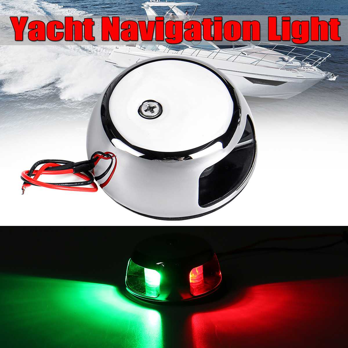 2W 12V LED Light Universal LED Navigation Light Lamps For Marine Boat Yacht Red + Green Sailing Signal Light Stainless Steel