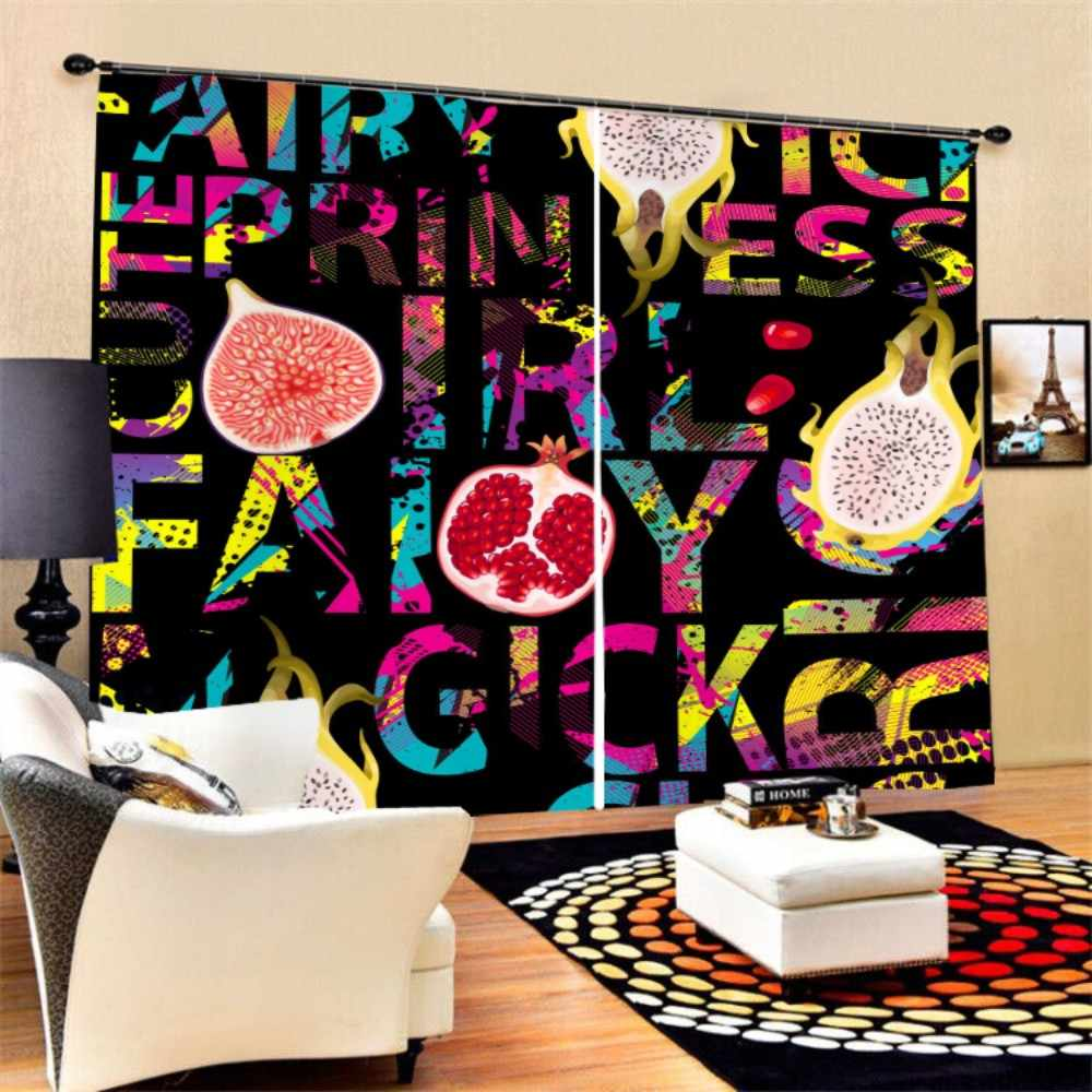 Window Curtain Soft Polyester 3D Colorful Summer Fruits Print Black-out Curtain for Bedroom Living Room Kitchen,2 Panels