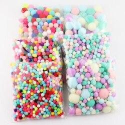 Bolas de pele pompom macaron 8mm 10mm 15mm a 30mm pompones diy pompons macios pompons artesanato decoração do casamento cola em acessórios de pano