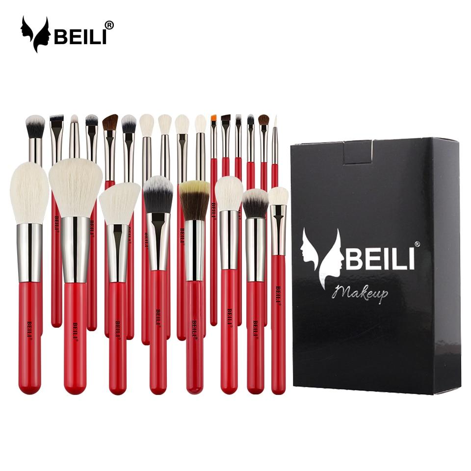 BEILI Red 24pcs Professional Makeup Brushes Set Natural Hair Powder Cream Foundation Blusher Eye blending brow Lip Eyeliner-in Eye Shadow Applicator from Beauty & Health