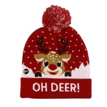 Winfox New Christmas Deer Knit Hat knitted Pom Pom Hat Unisex Warm Beanie Cap Warm Winter Hats For Women все цены