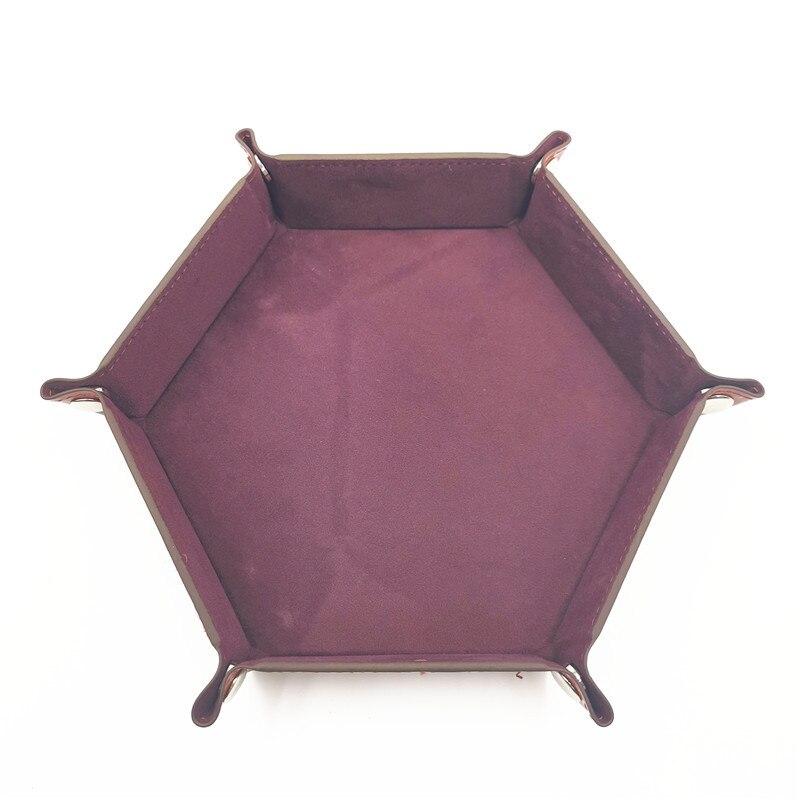 Игральные кости DND лоток dados de rol для хранения 14 цветов шестигранный бархатный тканевый Пинцет дисковый складной ящик для хранения pu лоток Настольный ящик для хранения - Цвет: Шоколад