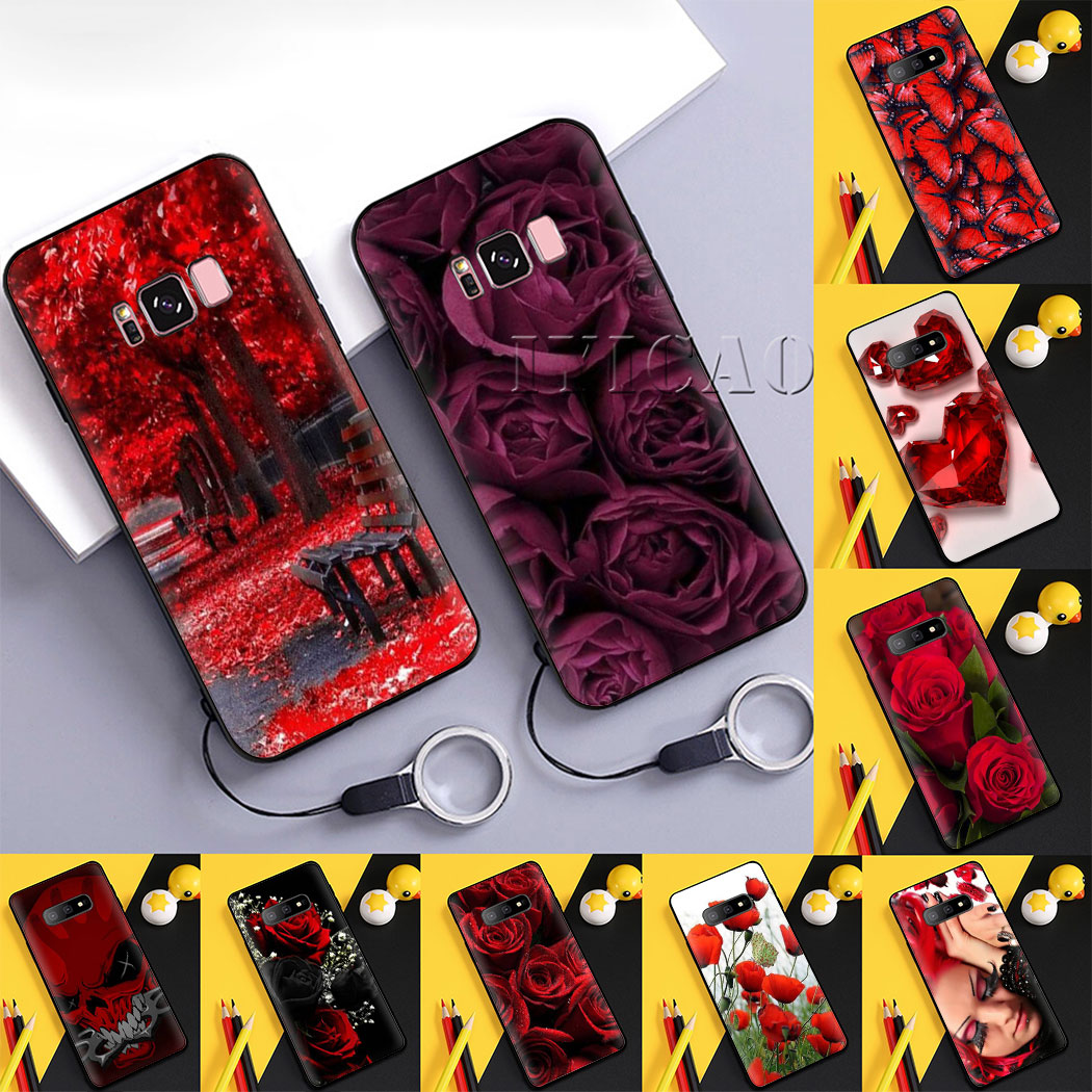 Red Wallpaper Soft Case For Samsung S6 S7 S6 S7 Edge S8 S9 S10 S8 S9 S10 Plus S10e Note 8 9 10 10 Plus Half Wrapped Cases Aliexpress